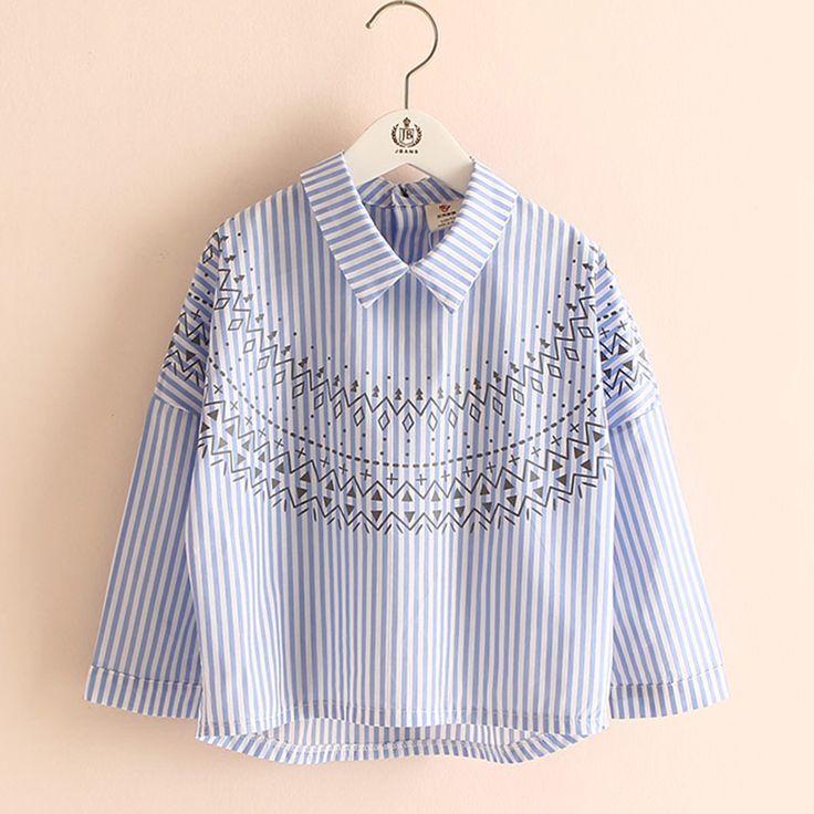 Девушки блузка полоса весна девушки рубашки с воротником с длинными рукавами печать блузки для девочек мода детская одежда 2433