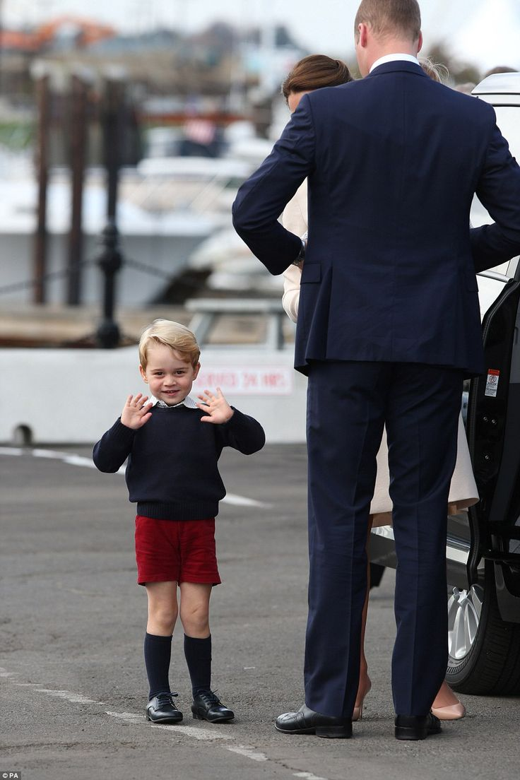 Prince George made onlookers - and his parents - chuckle as he animatedly waved goodbye to the crowd of fans around the harbour