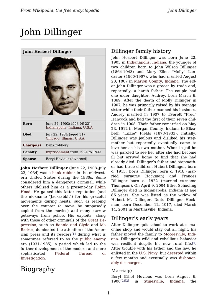 NEWSPAPER ARTICLE ABOUT JOHN DILLINGER
