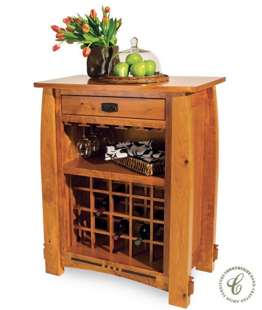 Pictured in Rustic Cherry with Cinnamon Stick stain, our Sitka Craftsman Wine Rack provides storage for sixteen wine bottles and your stemware.