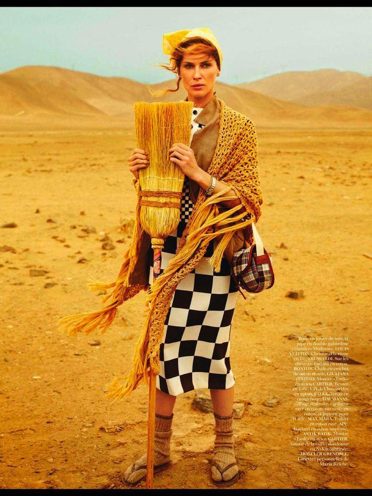 LES LIGNES DE NAZCA. Mario Testino for Vogue Paris April issue. Inspired by Maria Reiche, la Dama de la Pampa. She spent 60 years of her life studying las líneas de Nazca.