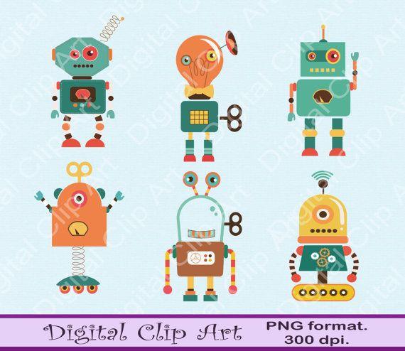 Robots Clip Art Owls Clipart  Instant Download by digitalcliparts
