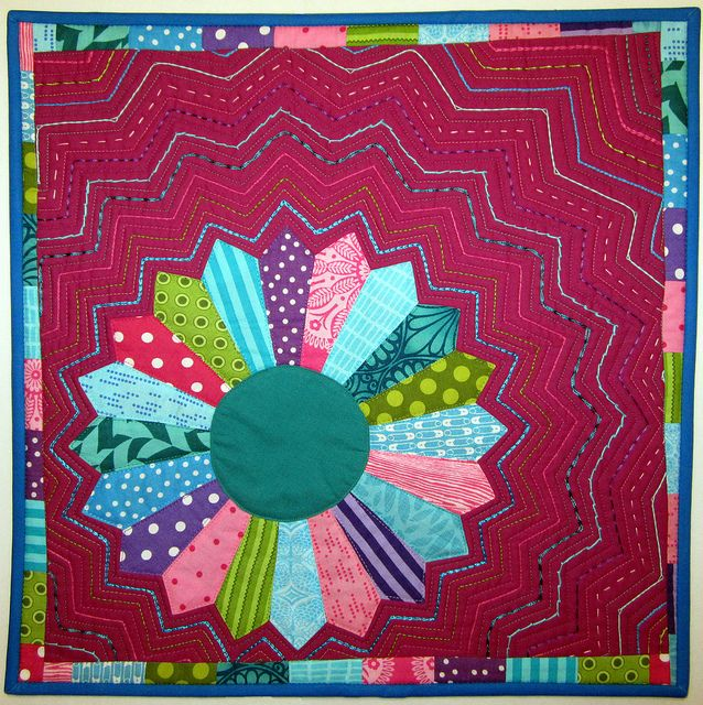 Dresden quilt with hand embroidery