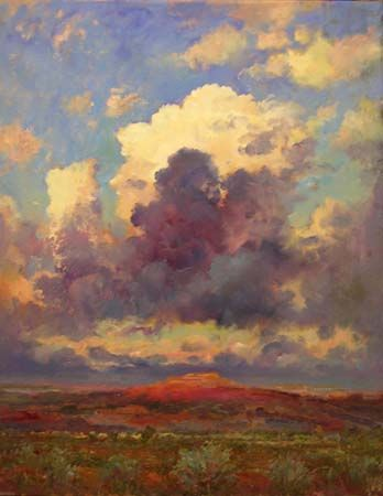 "Robert Andriulli, Southwest Sky Mountain, 2012  Oil on paper, 28x22"",  Private Collection"