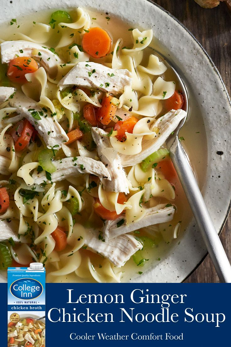 Traditional chicken noodle soup refreshed with lemon juice, ginger, herbs, and quality College Inn® flavor the whole family will enjoy.