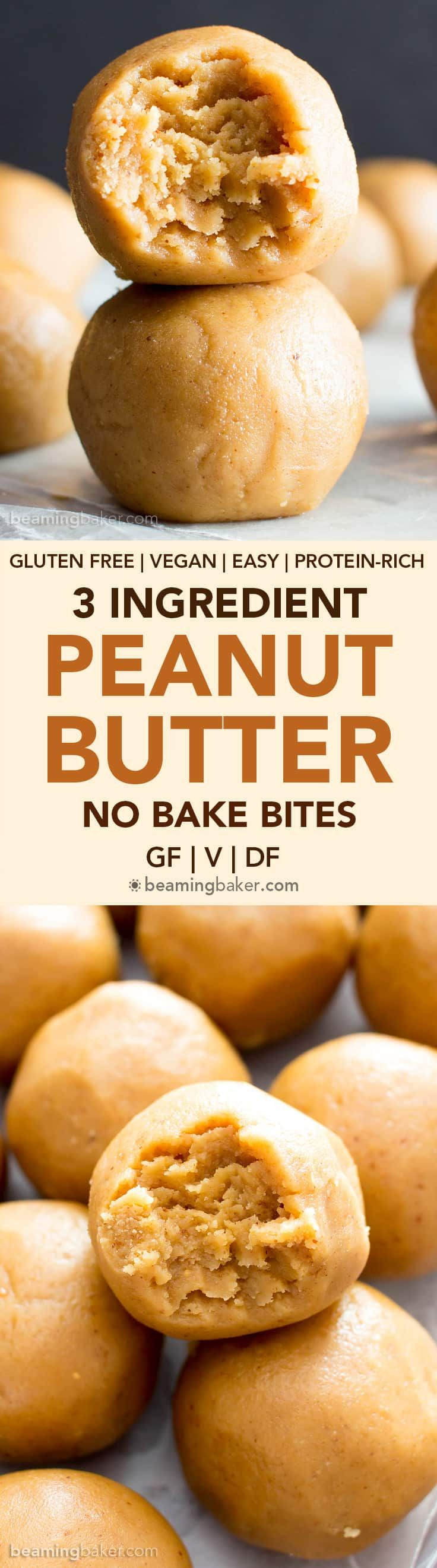 3 Ingredient Peanut Butter No Bake Energy Bites Recipe (V, GF): a one bowl recipe for easy gluten-free no bake energy bites packed with peanut butter flavor! #Vegan #GlutenFree #DairyFree #PeanutButter #NoBake #Snacks | Recipe on BeamingBaker.com