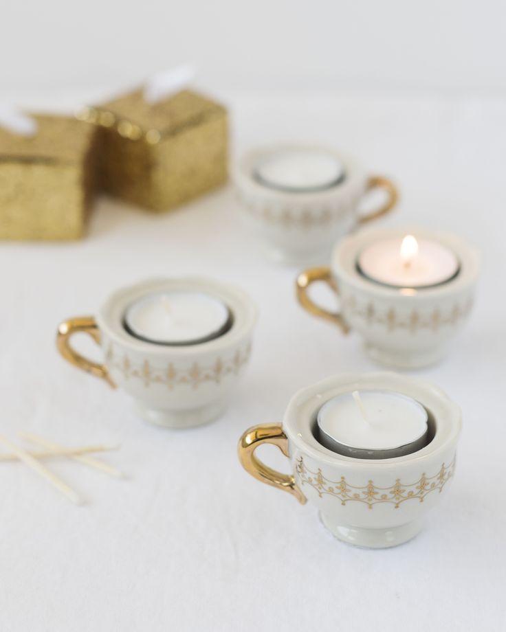 Mini teacup tealight holder tea light holder party for Teacup party favors