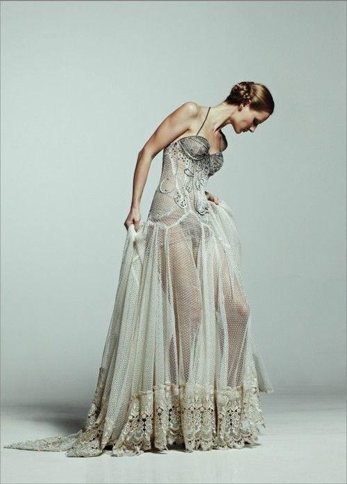 175 best sheer lace dress images on pinterest edwardian for Lingerie for wedding dress