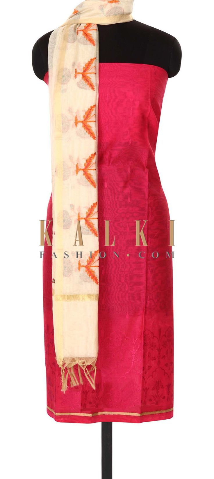 Buy this Pink unstitched suit in resham embroidery only on Kalki