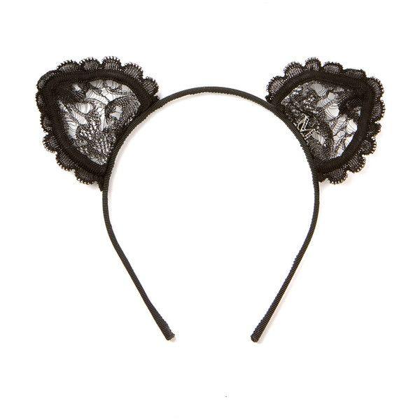 Maison Michel black Heidi Cat lace cat ears headband found on Polyvore