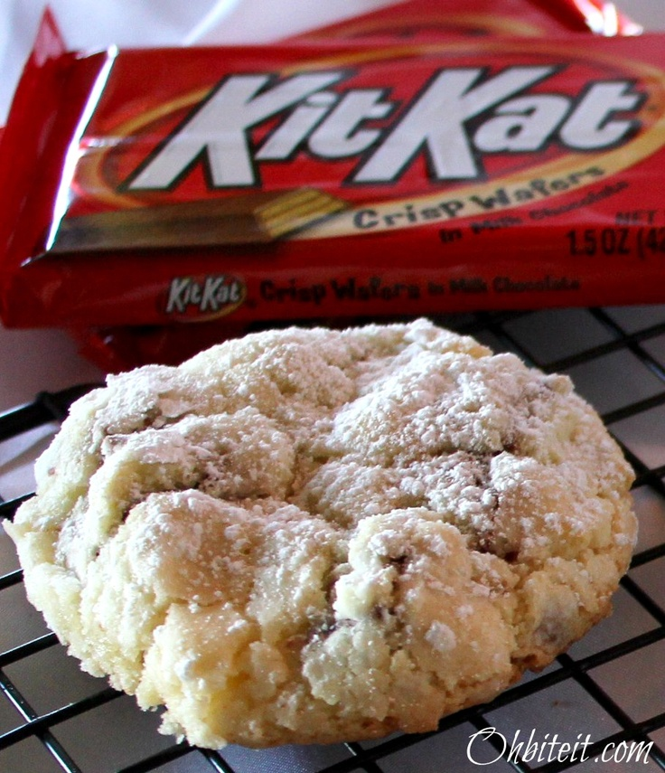 EASY  Kit Kat Cookies made with a cake mix!
