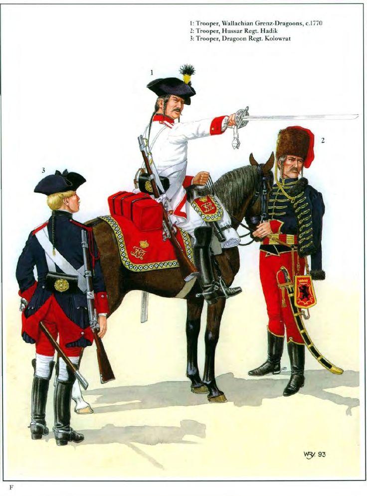 Austria; L to R Dragoon Regiment Kolowrat(Nr. 37), Dragoon. Wallachian Grenz-Dragoons(Nr. 45), Dragoon, c.1770 & Hussar Regiment Hadik, Hussar