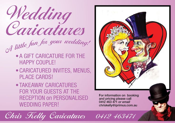 A GIFT CARICATURE for the happy couple!  CARICATURED INVITES, menus, place cards etc! TAKEAWAY CARICATURES for your guests at the reception on personalised wedding paper!