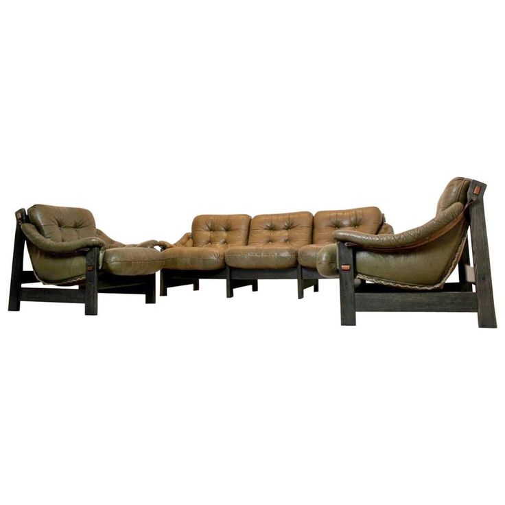 Brazilian Ebony and Leather Three-Piece Seating Group, Jean Gillon