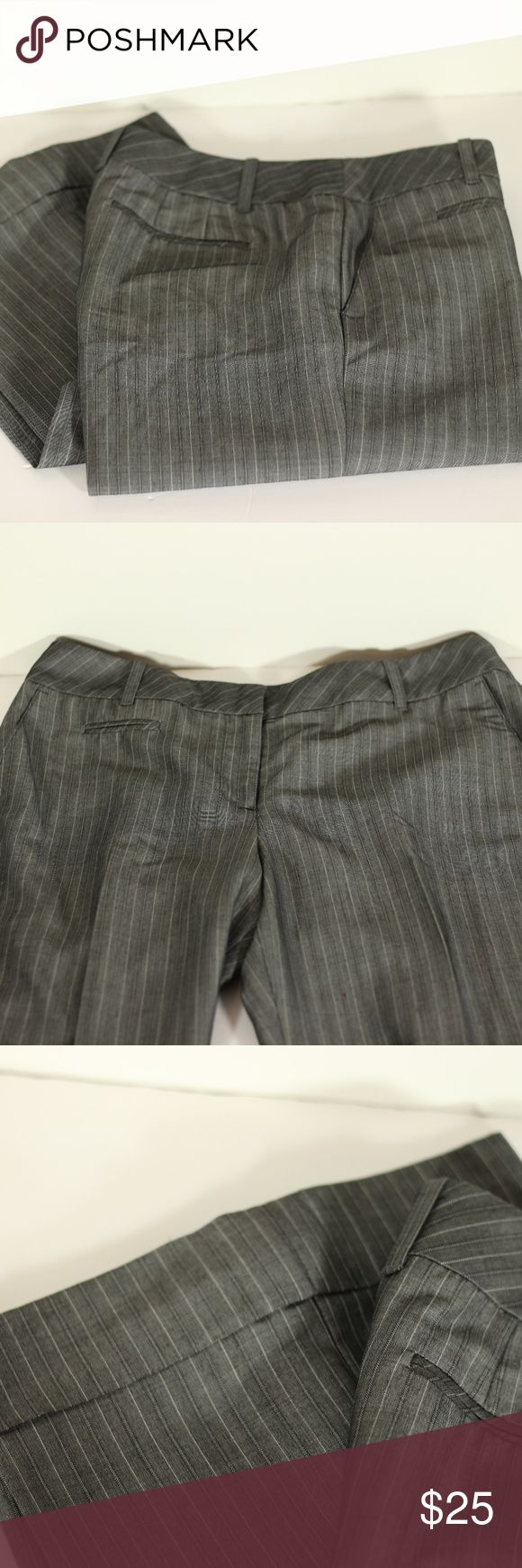 """Ann Taylor LOFT Petite Dress Striped Pants Size 6P Pre-Loved but in Excellent Used Condition. These pants feel like new! Ann Taylor LOFT Dress Pants Size 2P. Pants are color gray and feature stripes in black and white. Classic look, Ann Fit.   Approx 38"""" from waist to hem Inseam is approx 29.5"""" Boot is approx 10.5"""" wide Waist is approx 15.5"""" when laying flat  Shell: 55% rayon, 45% virgin wool Lining: 100% Acetate Dry Clean Only LOFT Pants Boot Cut & Flare"""