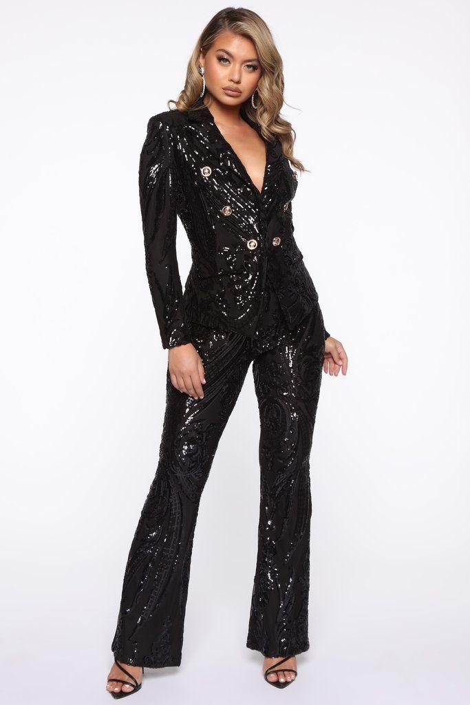 Eye Catcher Sequin Suit Set Black In 2020 Black Sequin