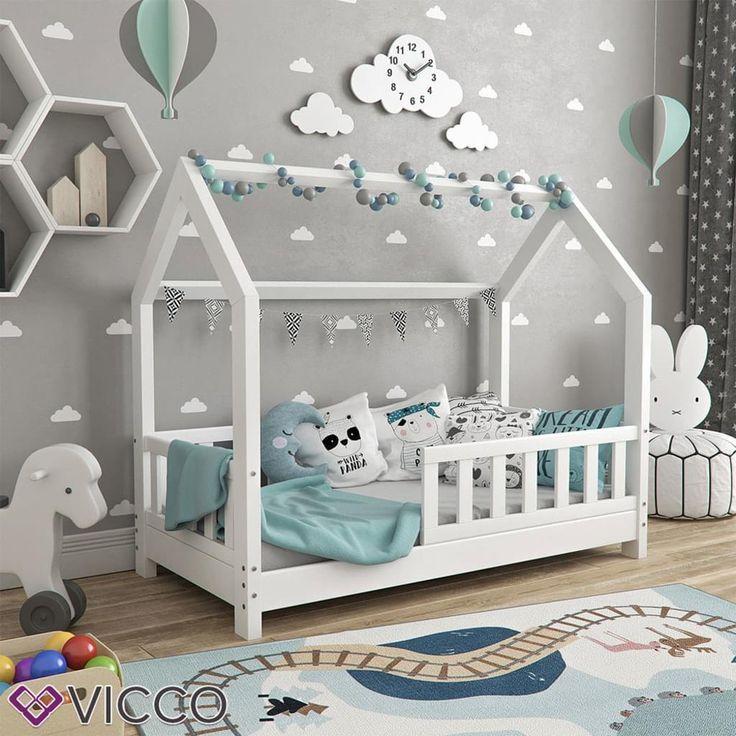 VitaliSpa house bed WIKI 70x140cm fence white cot children's house children bed h …