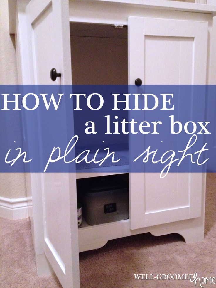 How to hide the kitty litter cabinet in plain sight and keep dogs out!