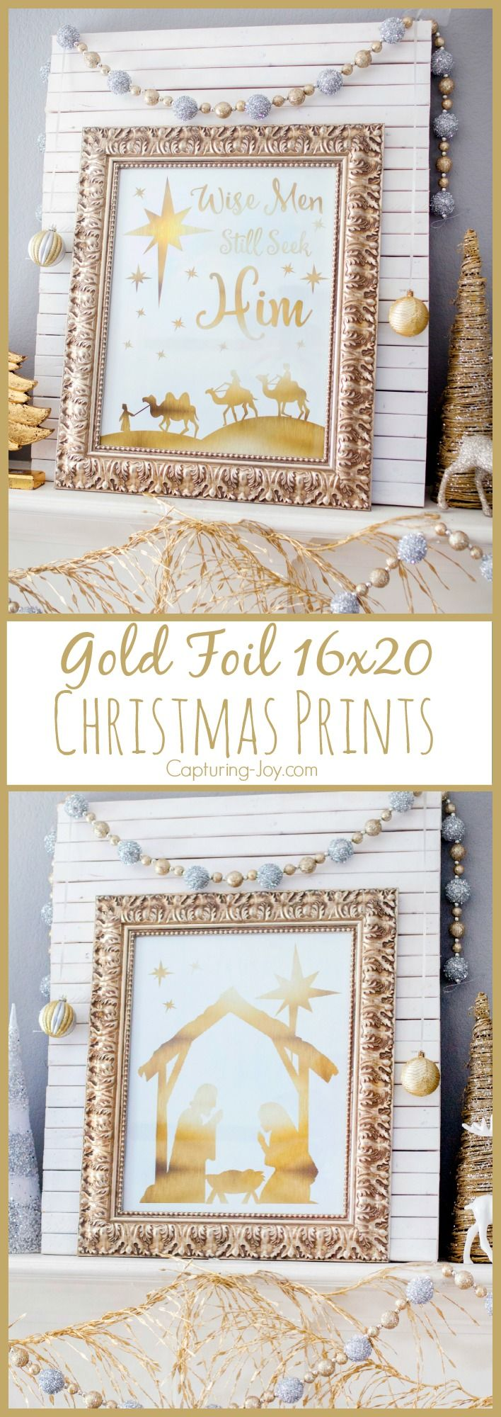 Gold Foil 16x20 Christmas Prints of Nativity and Wise Men Still Seek Him holiday sayings. Great gift idea with tags, or home art decoration for mantel or wall display.