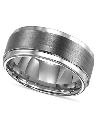 Triton Men's Ring, Tungsten Carbide Comfort Fit Wedding Band 9mm Band (Size 8-15) - Rings - Jewelry & Watches - Macy's