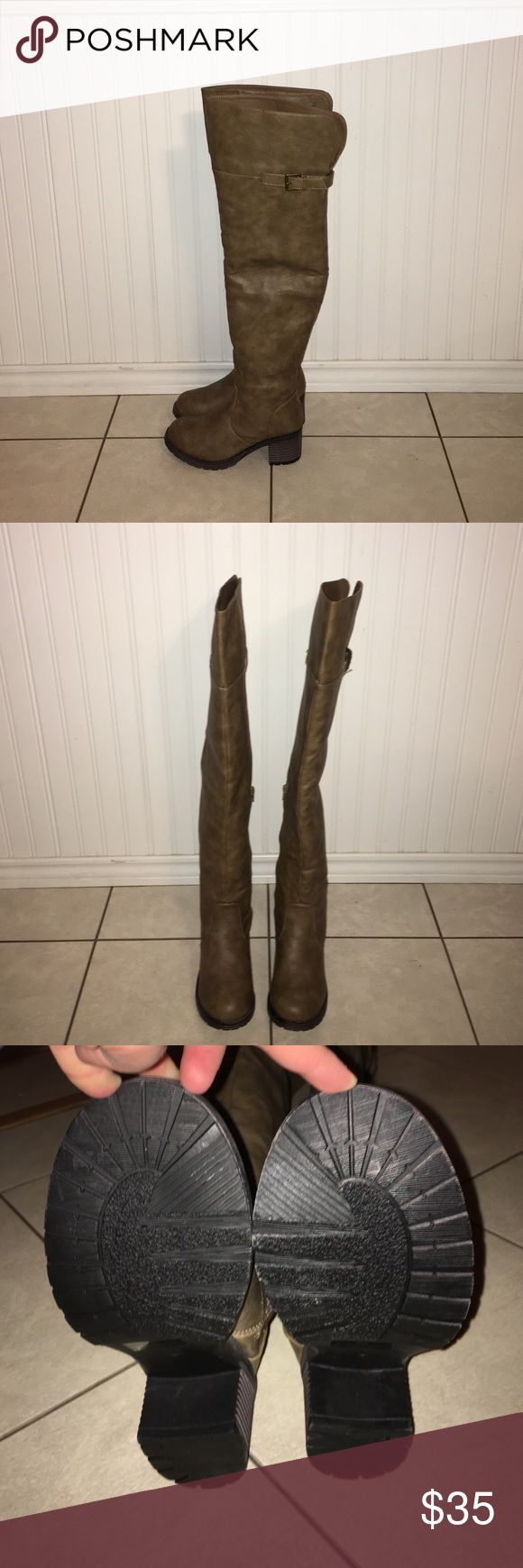 Rue 21 Tall Brown Boots Size Medium 7/8, These shoes are brand new, and never used! These boots come up over the knee! Vegan Leather Rue 21 Shoes Over the Knee Boots