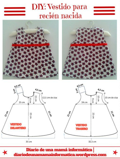 DIY: Vestido para niña recién nacida, incluye patrón.  DIY: Baby dress size new born. Free pattern.