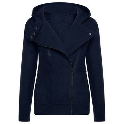 Clocolor Turn Down Collar hoodies Jacket Full Sleeve Solid Autumn Warm Hooded Coat Zipper Up Casual Coat for Women