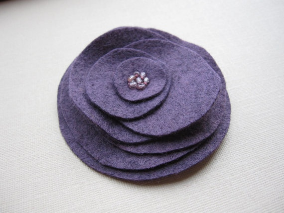 Vinyard Grape Stacked Flower felt brooch by soleilgirl on Etsy