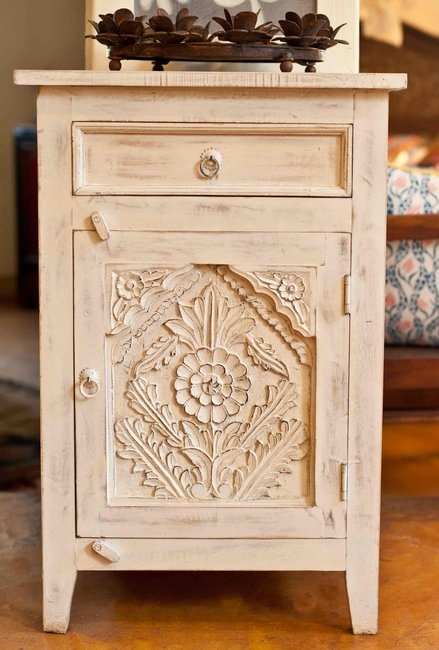 Carved Wood Indian Bedside Table Painted Bohemian Home