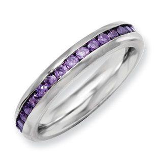 Women S Stainless Steel Purple Cz February Birthstone Ring
