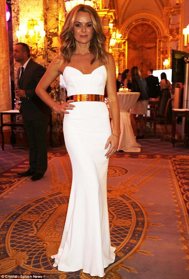 #whiteandgold No Holden back: Amanda Holden looked stunning in a sleek white strapless gown at the Climate Group Gala in Monaco on Tuesday night