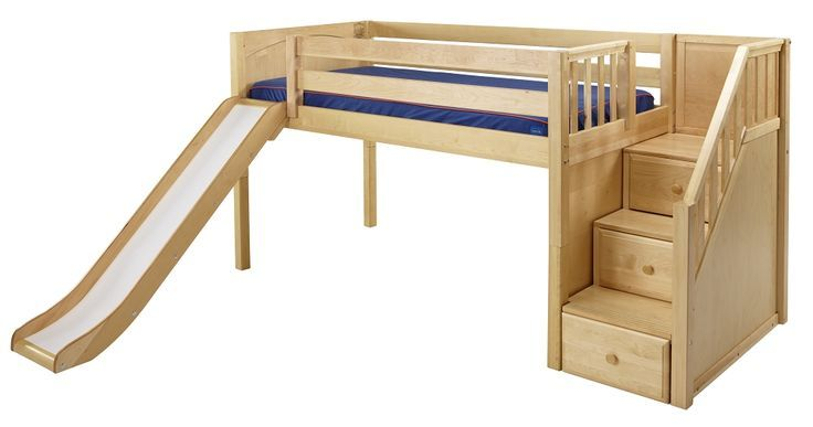 Low Loft Bed, Bunk Beds For Kids, Kids Room Ideas, Toddler Bed, Loft Beds, Kid Room, Loft Bed With Slide, Kids Rooms