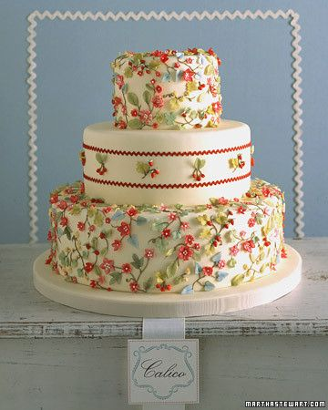 Beautiful textiles are a rich source of inspiration for wedding cakes. You can dress a cake in anything from a simple dotted Swiss to an intricate lace. Here, a two-dimensional calico print comes to life on a cake with diminutive hand-sculpted flowers, leaves, and fruits; the soft colors are reminiscent of the faded look of a vintage apron. Real rickrack trim, bordering clusters of fruit on the middle tier, imparts a cheery, homespun feel. Set against ivory fondant, strawberries and…