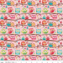 Tessuto con gufi - Flappers Owl Pink