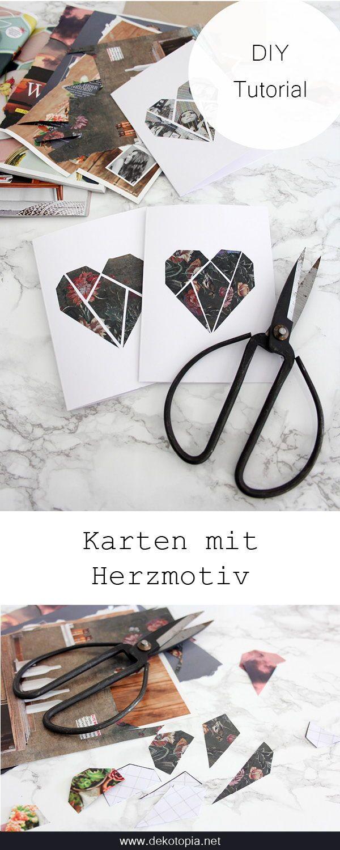 DIY Anleitung: Valentinskarte mit Herzmosaik #upcycling #selver #valent …   – dekotopia