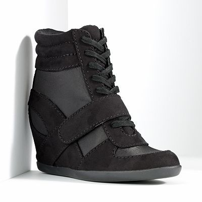 Simply Vera Vera Wang Wedge Sneakers - I dig the black on black on black. Probably impractical sneakers but kind of fly.