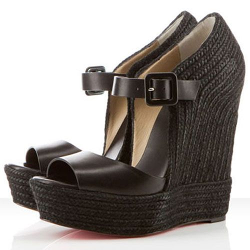 Christian Louboutin  Praia Espadrille 140mm Wedges Black on the lookout for limited offer,no tax and free shipping.#shoes #womenstyle #heels #womenheels #womenshoes  #fashionheels #redheels #louboutin #louboutinheels #christanlouboutinshoes #louboutinworld