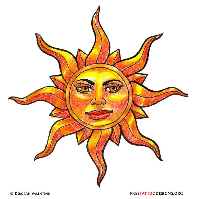 Want this tattoo of yellow sun tattoo design, but without