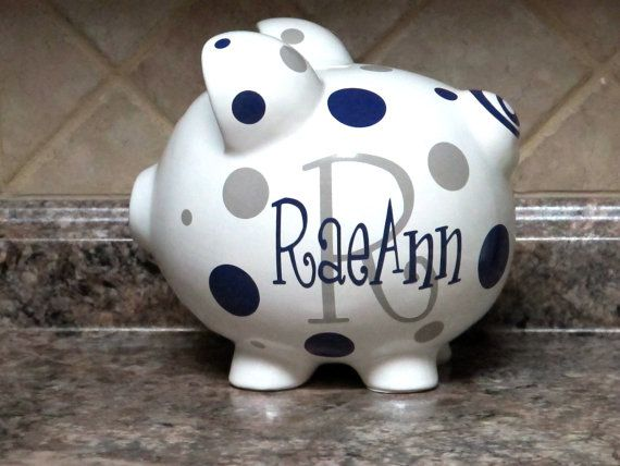 Large Personalized Ceramic Piggy Bank With by andreatisdale
