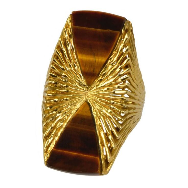 1970s Kutchinsky London Tiger's Eye and Gold Ring 1