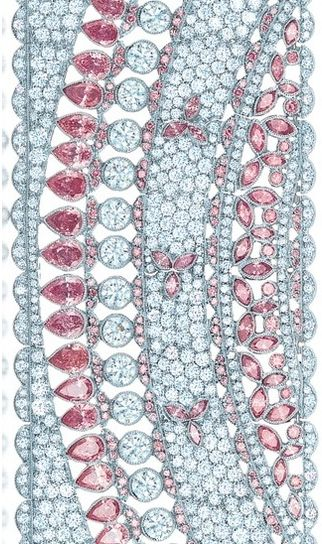 Here's a stunning Detail shot of a Diamond and Pink Diamond Bracelet from the Tiffany's Bluebook 2013 Collection