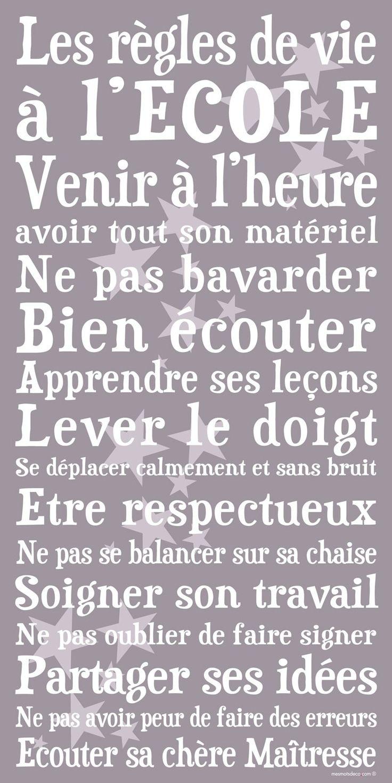 A l'ECOLE - étoiles Affiche adhésive 90*45 cm #stickergeant #cadeau #maitresse #ecole