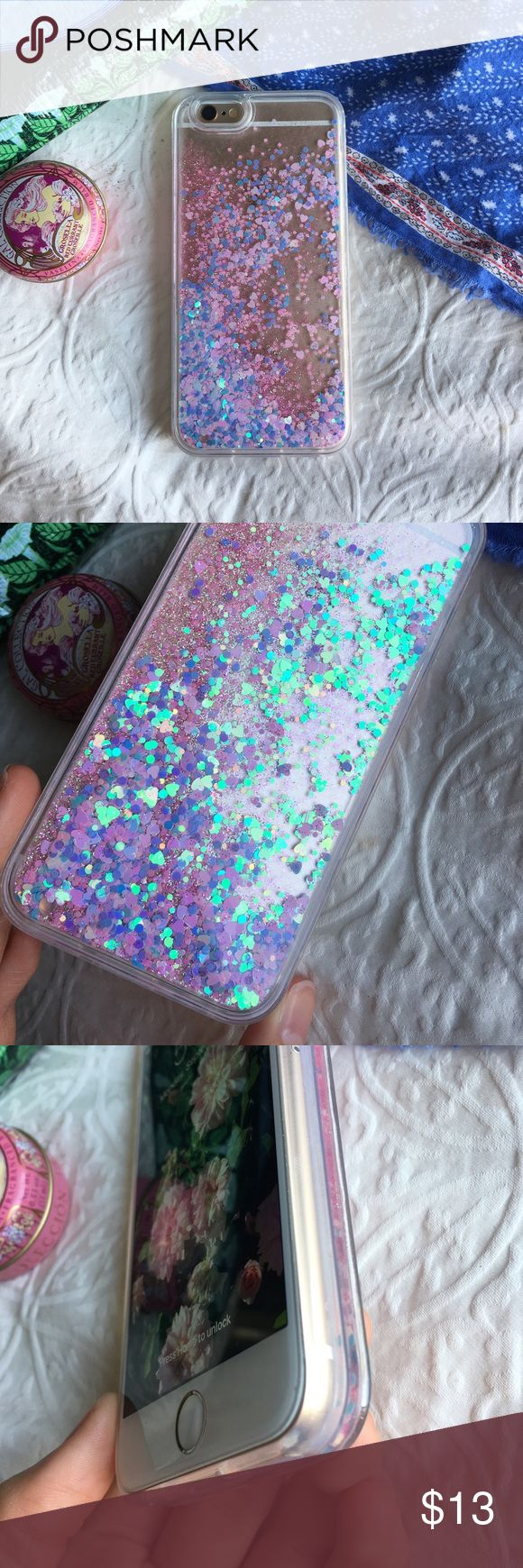 glitter phone case ✨brand new ✨pink and blue sparkle water case ✨for iphone 6/6s ✨protects back of phone from scratches ✨not from listed brand-only for exposure ✨no lowballing please ✨ships next day excluding sundays Make an offer!  tags: sparkles, cotton candy, turquoise, pretty, artsy, protective, otter box, speck, hearts, heart, brandy melville, urban outfitters, violet, tumblr, cool, apple, gift, pearlescent, holographic, translucent, transparent, clear, Brandy Melville Accessories Phone…