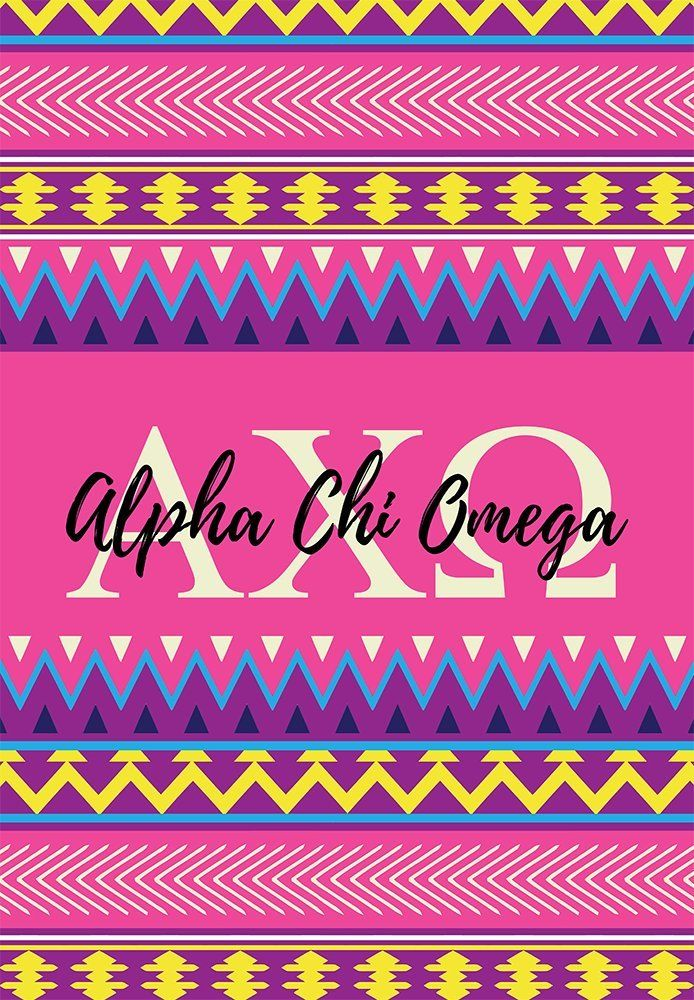 Alpha Chi Omega sorority 12 inch x 20 inch flag - Pink and purple Aztec - Room decor - Garden flag - Gift for mom or alumna. My flags are designed by me so you will find these designs no where else ! Decorate your dorm, sorority house or yard with this small, colorful flag. At 12 x 20 inches, these are what is considered a Garden flag size. -Indoor / Outdoor flag. 100% Polyester Mesh flag. 12 inches by 20 inches. -Printed on BOTH SIDES. -Pocket at the top for hanging on a garden flag pole...