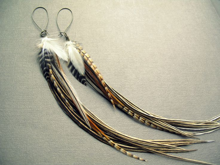 Feather Earrings: Long Feather Earrings Natural Earth Tone Feathers on Brass Sleek Hippie Bohemian Tribal Festival LIB Summer Jewelry by Chrysalism on Etsy