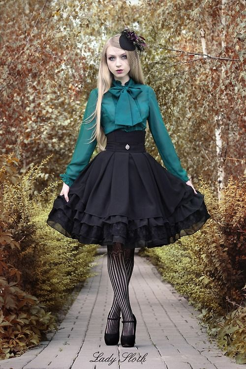 Pretty green and black combination. Lady Sloth skirt.