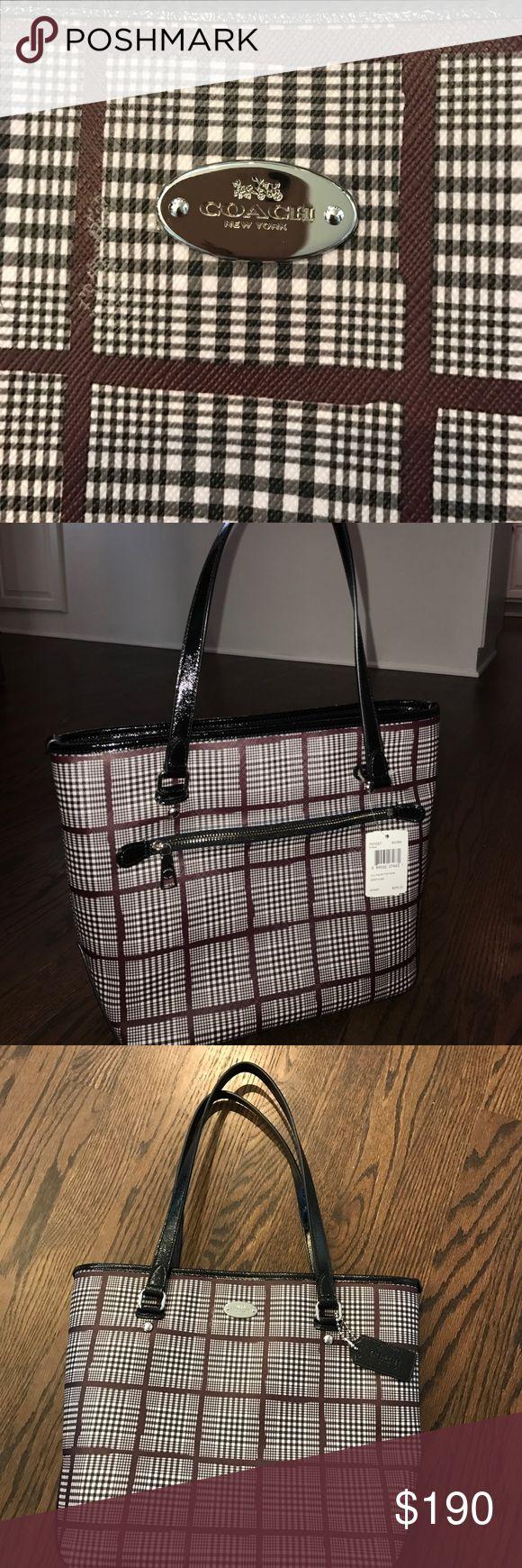 "Plaid Coach shoulder bag! New with tags!! Maroon, black and white plaid shoulder bag. Brand new with tags. Bag dimensions w/o straps - 10""h x 13""w. Bag dimensions with straps- 19""h x 13""w. Interior has two open pockets and one zip pocket. Coach Bags Shoulder Bags"