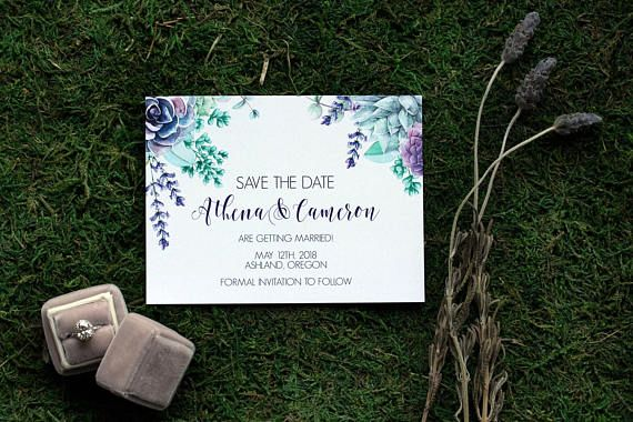 Style Name: Athena Description: This suite features succulents, lavender and greenery that compliment Pantones color of the year ultra violet. This can be done in any font combination or color of your choice. This is a listing for a sample save the date. Please refer to the pricing