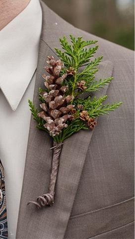 cuuute for a winter wedding =) >> pinecone boutenniere