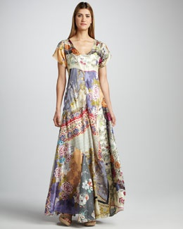 T53R6 Johnny Was Collection Mixed-Print Silk Maxi Dress